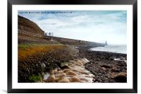 Low tide at Tynemouth, Framed Mounted Print