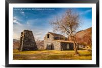 Welsh Quarry Buildings, Framed Mounted Print