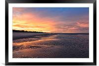 Sunset stroll on Wells beach, Framed Mounted Print