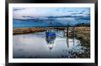 Fishing boats at Thornham quay, Framed Mounted Print