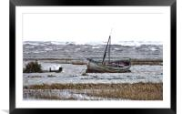 A high tide on a windy day at Thornham , Framed Mounted Print