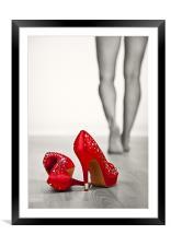 Kicking off Red High Heels, Framed Mounted Print