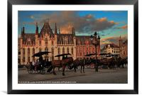 Markt Square at dusk, Bruges, Framed Mounted Print