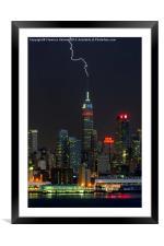 Empire State Building Lightning Strike I, Framed Mounted Print