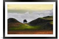 Dawn at sycamore gap, Framed Mounted Print