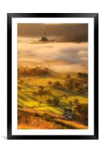 Golden mists over castleton 2, Framed Mounted Print