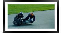 Racing sidecar at Snetterton racetrack , Framed Mounted Print