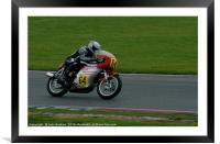 Racing bikes at Snetterton racetrack , Framed Mounted Print