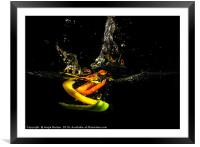 A Splash of Peppers, Framed Mounted Print