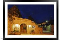 Night scene hilltop lane Goreme Cappadocia, Framed Mounted Print