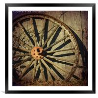 Old West Wagon Wheel, Framed Mounted Print