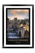 Worcestershire Railway Poster, Framed Mounted Print