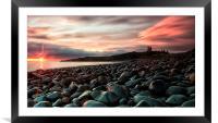 Dunstanburgh castle sunrise, Framed Mounted Print