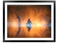 Tham Khoun Xe cave river in the early mist., Framed Mounted Print