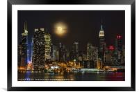 Super Moon Over NYC, Framed Mounted Print