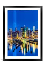 Manhattan NYC 911 Tribute, Framed Mounted Print