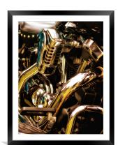 Motorcycle Engine and Chrome, Framed Mounted Print