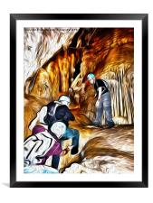 My friend Rina Cave Climbing, Framed Mounted Print