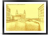 Liver Building from Princes Dock (Digital Art), Framed Mounted Print