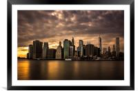 Manhattan Sunset, Framed Mounted Print
