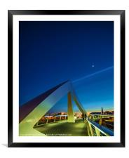 The Squiggly Bridge over the Clyde by Moonlight, Framed Mounted Print