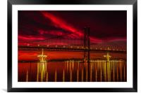Fiery Sunset over Forth Road Bridge, Framed Mounted Print