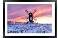 Pitstone Windmill Sunset, Framed Mounted Print