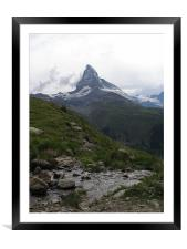 Nightfall at the Matterhorn , Framed Mounted Print