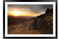 Stanage Edge Sunset, Framed Mounted Print