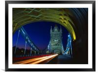 Tower Bridge London at Night, Framed Mounted Print