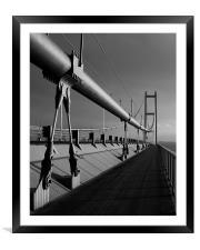 Humber Bridge Sunset In Black & White, Framed Mounted Print