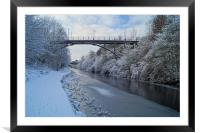Bridge over frozen Sheffield Canal, Framed Mounted Print