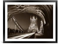 Tower Bridge London at Night, Sepia Toned, Framed Mounted Print