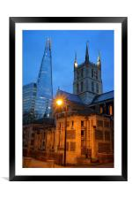 The Shard & Southwark Cathedral at Night, Framed Mounted Print