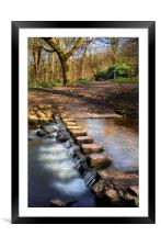 Porter Brook Stepping Stones & Falls, Framed Mounted Print