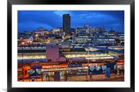 Sheffield City Centre at Night, Framed Mounted Print