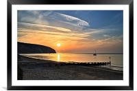 Swanage Bay Sunrise, Framed Mounted Print