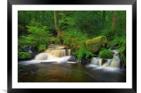 Double Waterfalls at Rivelin , Framed Mounted Print
