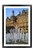 Sheffield Town Hall and Goodwin Fountain , Framed Mounted Print
