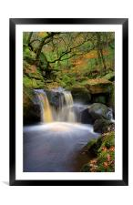 Cascading Waterfalls in Padley Gorge , Framed Mounted Print