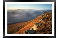 Bamford Edge and Win Hill Mist , Framed Mounted Print