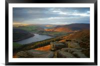 Ladybower View on Bamford Edge , Framed Mounted Print