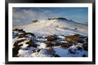 Carl Wark and Higger Tor in Winter , Framed Mounted Print