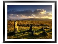 Merrivale Stone Rows Sunset , Framed Mounted Print
