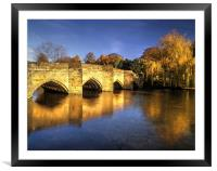 Bakewell Bridge and River Wye , Framed Mounted Print