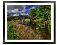Two Bridges and West Dart River , Framed Mounted Print