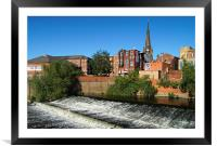 Rotherham Town Centre and River Don , Framed Mounted Print
