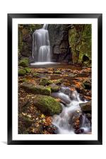 Lumsdale Falls in Autumn , Framed Mounted Print