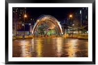 Sheffield Winter Gardens at Night , Framed Mounted Print