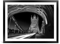 Tower Bridge London at Night , Framed Mounted Print